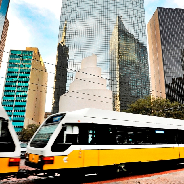 Thanksgiving Tower in Downtown Dallas with DART train
