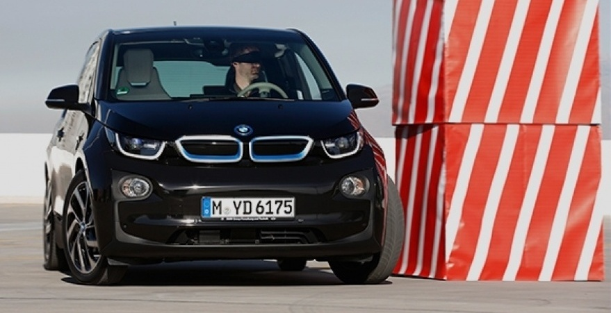 Photo: t3.com BMW i3 collision avoidance test.