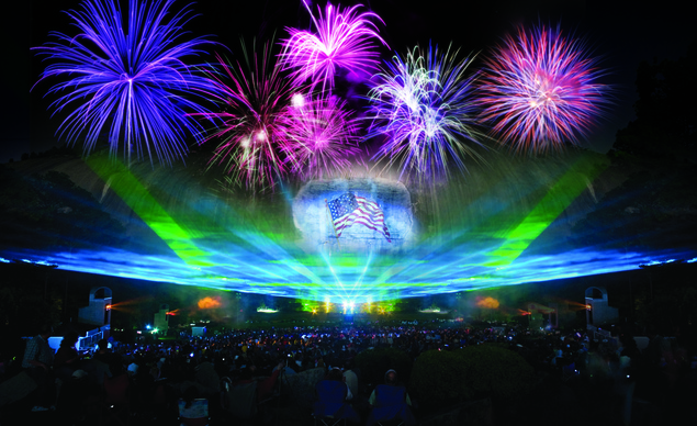 All photos budgettravel.com Memorial Day fireworks and laser show at Stone Mountain Park near Atlanta.