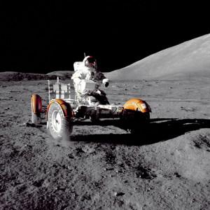 Photo: space.com Gene Cernan driving on the moon.