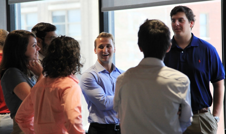 Interns get acquainted before getting down to business.