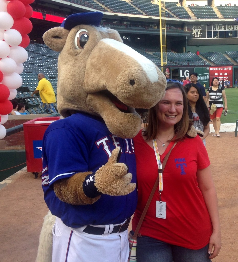 Photo: LaQuenda Jackson The Texas Rangers mascot with an associate at Globe Life Park.
