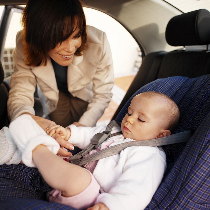 Make sure baby is properly buckled up.