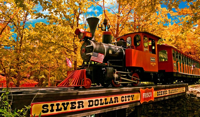 The Silver Dollar City Scenic Railway chugs through the Ozarks.