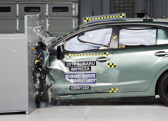 Photo: iihs.org The Subaru Impreza was impressive in IIHS crash tests.