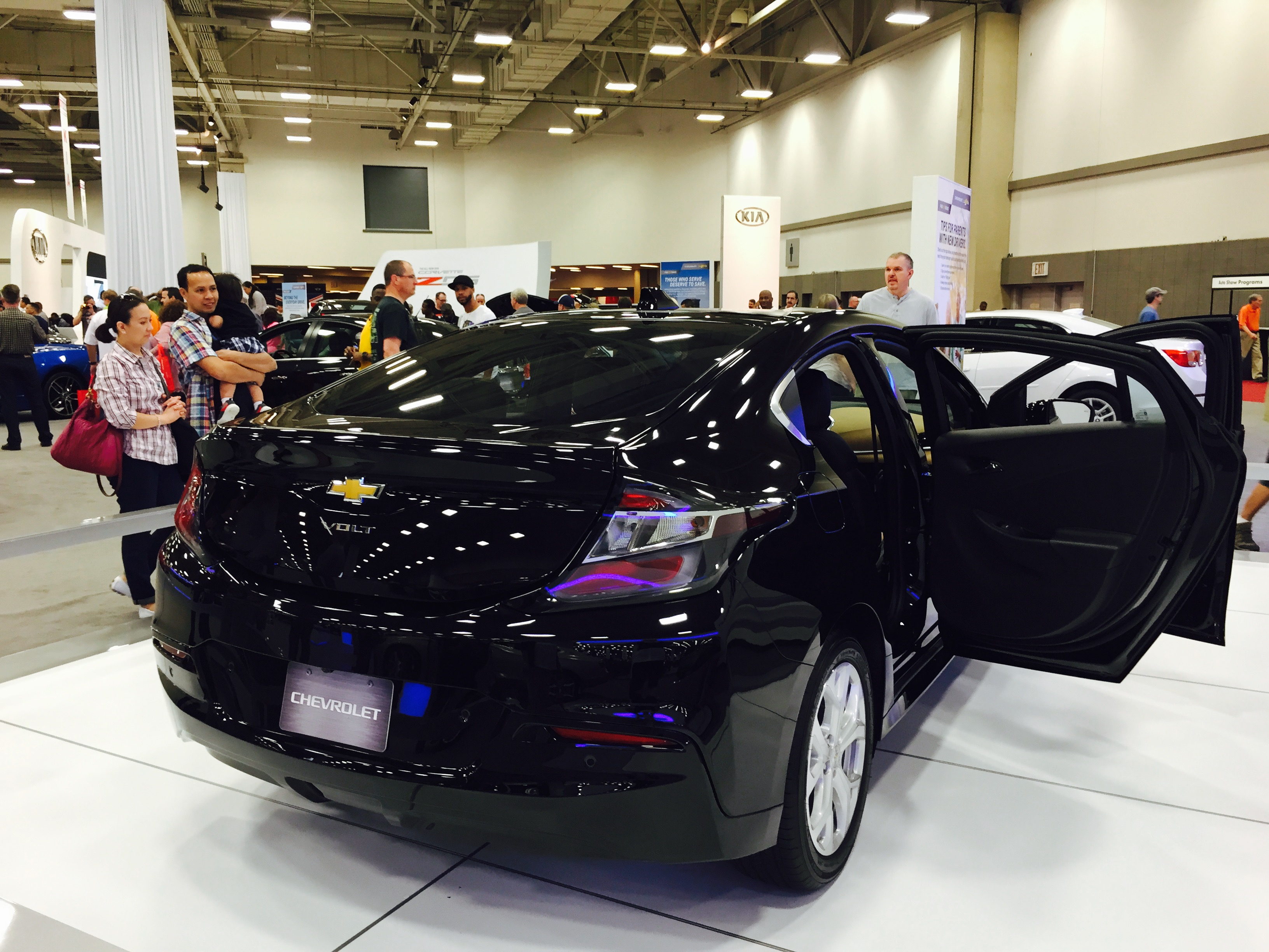 Visitors check out a Chevrolet Volt at last year's auto show.