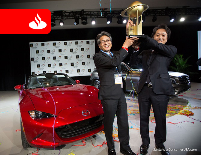 Photo: Kevin Hagen Overall winner's trophy for the Mazda MX-5 at the World Car of the Year awards.