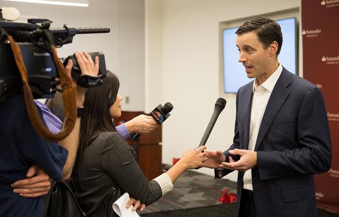 CEO Jason Kulas meets the press at the Mesa, AZ, grand opening.