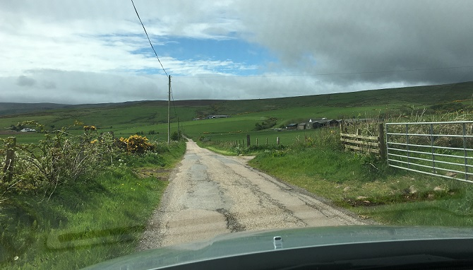 This is a road – not a driveway – en route to the Mull of Kintyre.