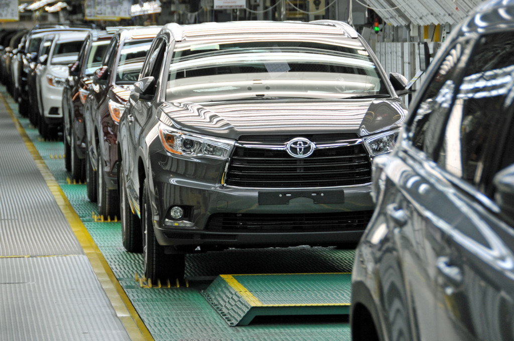 Toyota Highlanders, built with 60-70 percent of American-made parts in recent years, roll off an assembly line in Princeton, IN.
