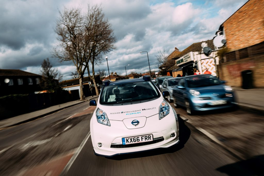 """Nissan """"Intelligent Mobility"""" vehicle on the road."""