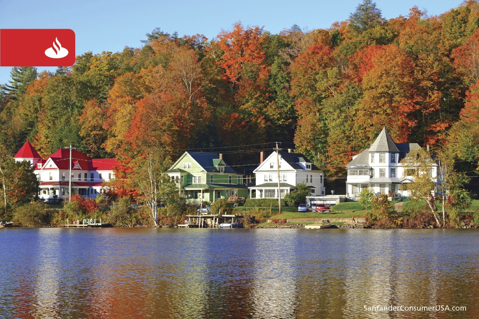 Colors blaze at Saranac Lake in New York's Adirondacks.