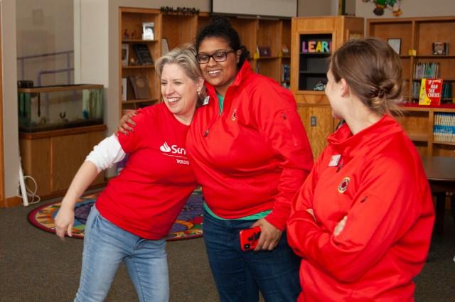 Volunteers hugging
