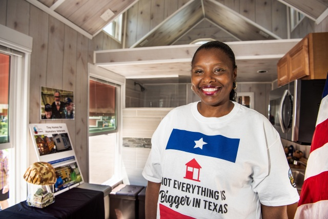 Woman in a tiny house making a difference