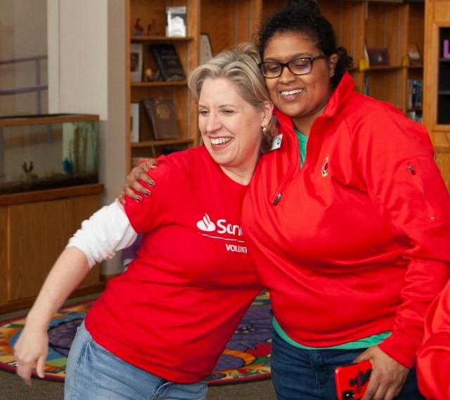 Volunteer gets a hug