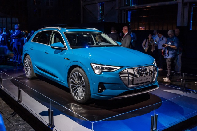 Blue Audi e-tron at auto show near me