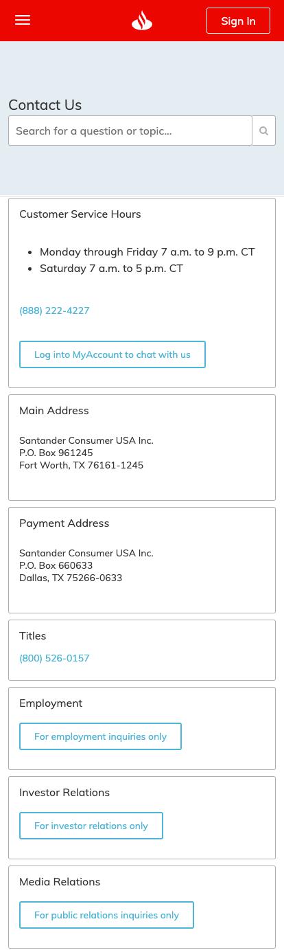 How can I contact Customer Service? - Santander Consumer USA
