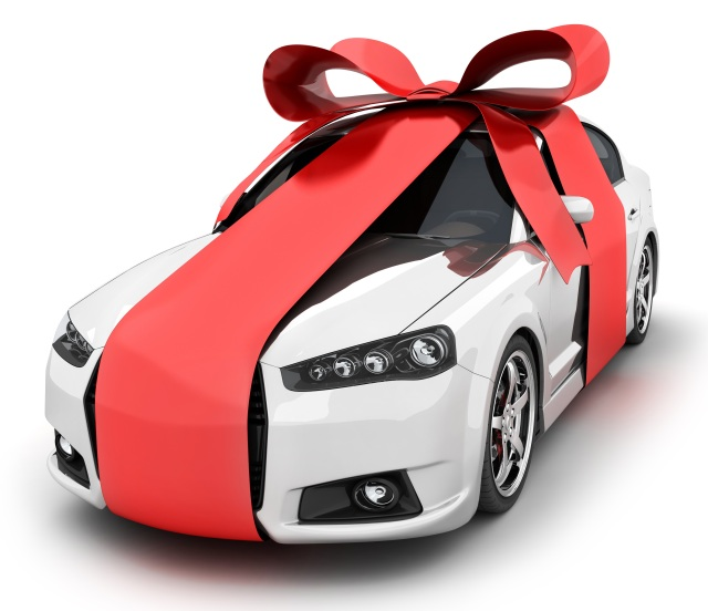New car with Christmas ribbon