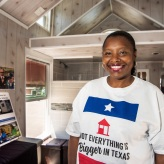 Woman inside a tiny house