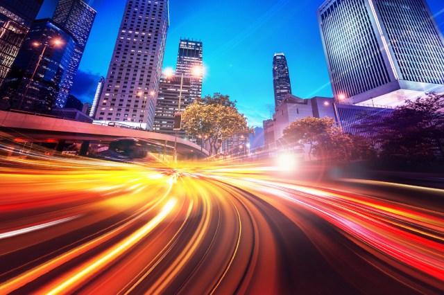 Streaking car lights at night