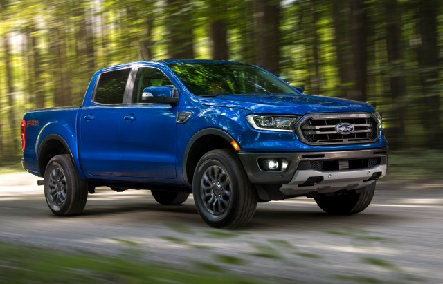 2020 Ford Ranger on road in woods
