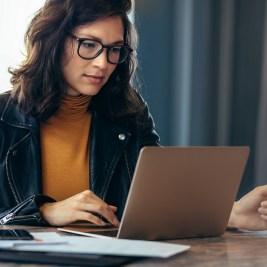 Woman checking free credit score