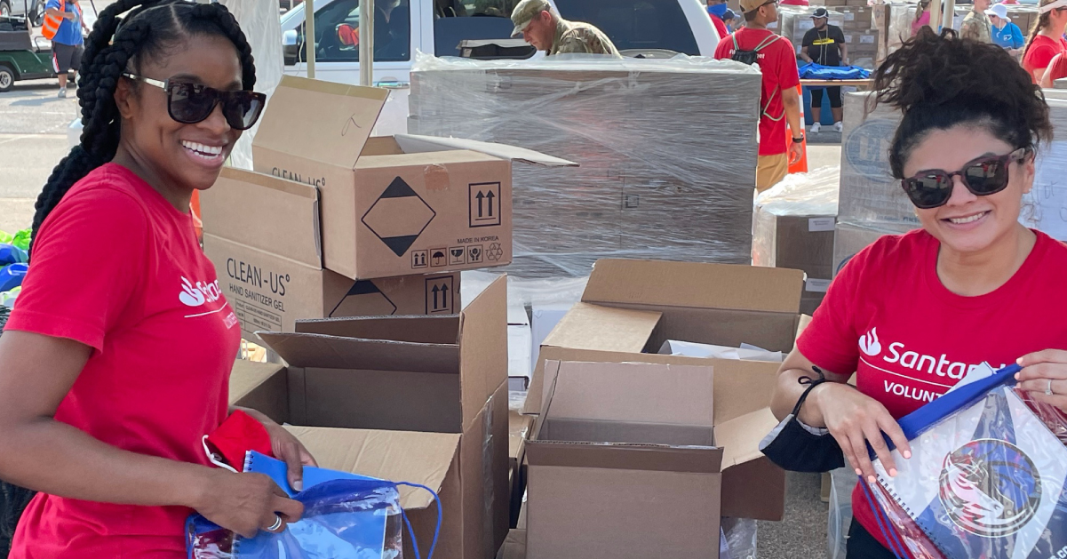 SC volunteers packing school supplies
